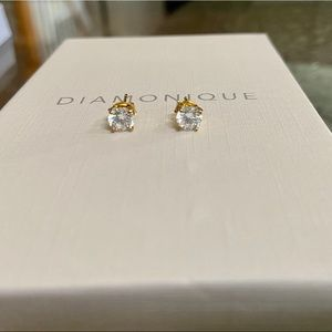 New diamonique 14k gold plated earrings